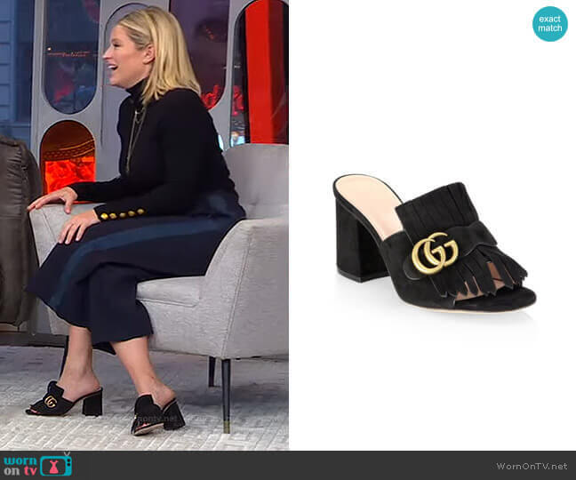 Marmont Suede Sandals by Gucci worn by Sara Haines  on Good Morning America