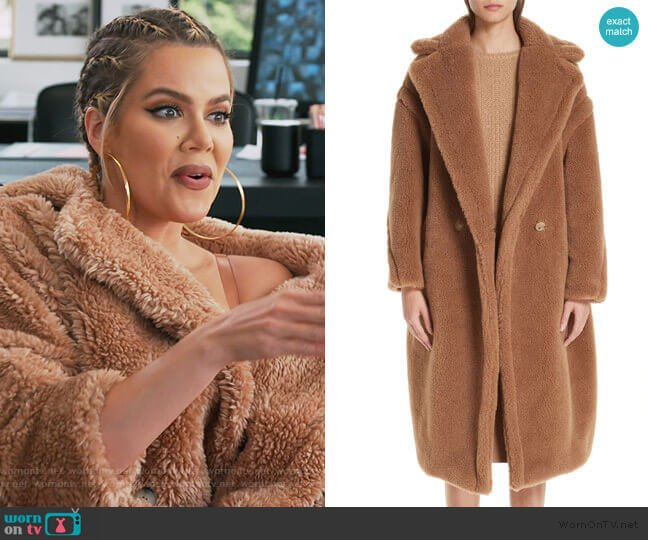 Teddy Bear Icon Faux Fur Coat by Max Mara worn by Khloe Kardashian  on Keeping Up with the Kardashians