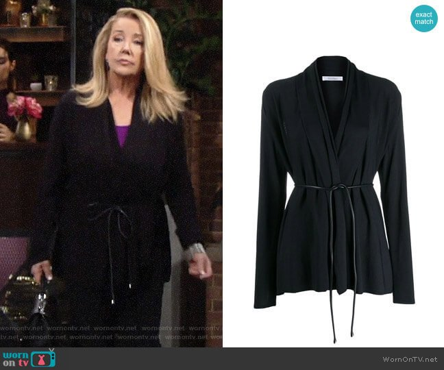 Max Mara Belted Flared Cardigan worn by Nikki Reed Newman (Melody Thomas-Scott) on The Young & the Restless