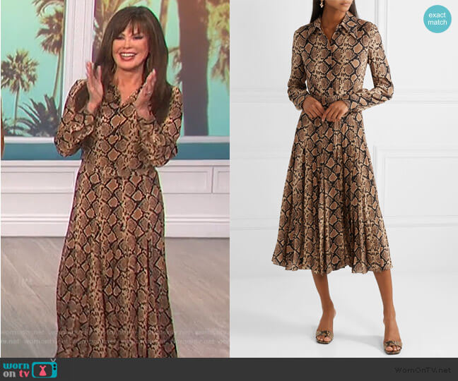 Belted snake-print silk-crepe midi dress by Michael Kors worn by Marie Osmond  on The Talk