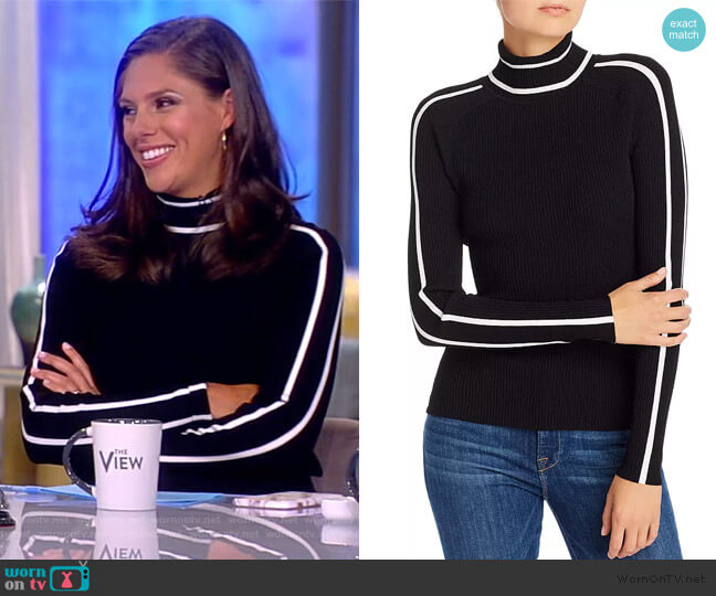 Racer Stripe Ribbed-Knit Top by Milly worn by Abby Huntsman  on The View
