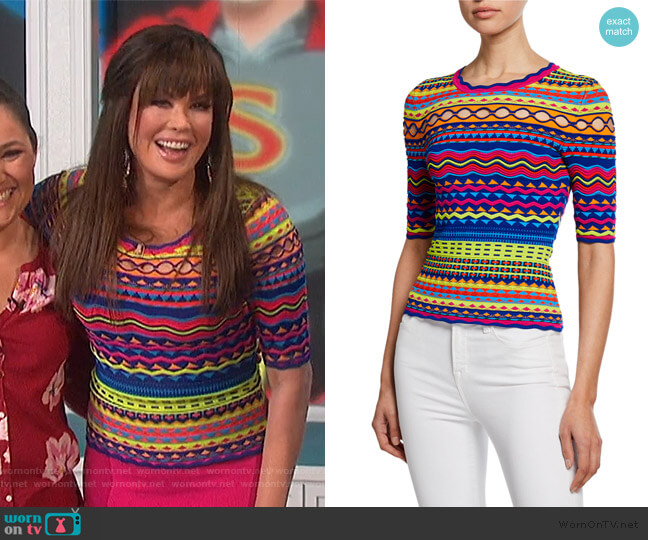 Technicolor Textured Crewneck Pullover by Milly worn by Marie Osmond  on The Talk