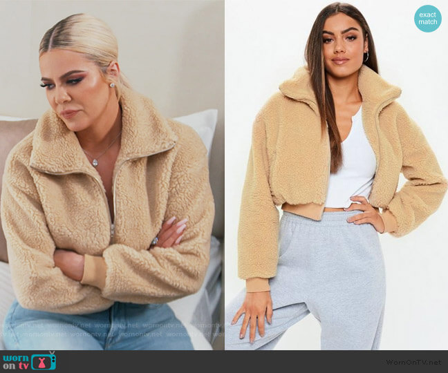 Chunky Crop Zip Through Teddy Jacket by Missguided worn by Khloe Kardashian  on Keeping Up with the Kardashians