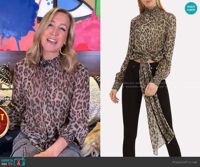 Mock Neck Leopard Blouse by Nicholas worn by Lara Spencer  on Good Morning America