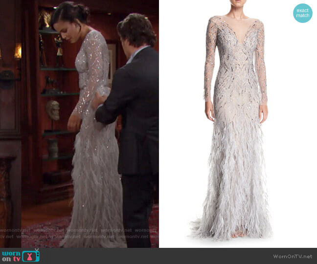 Embellished Evening Gown with Feather Skirt by Monique Lhuillier worn by Kyra Green on The Bold and The Beautiful