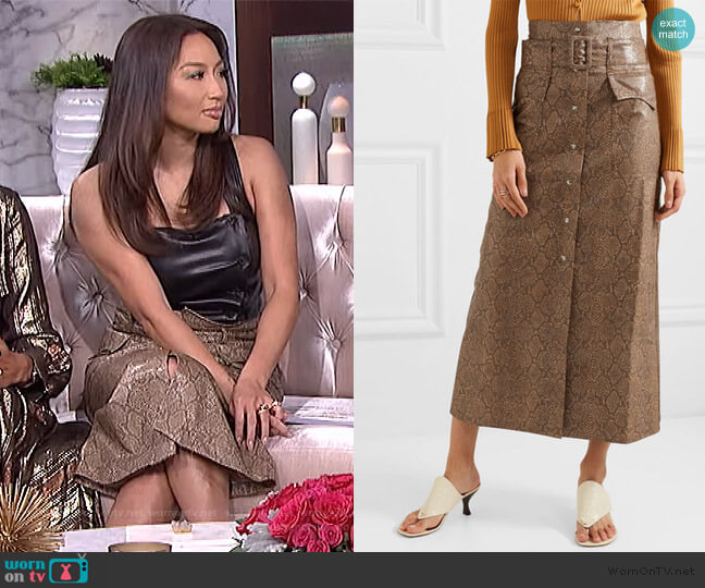 Aarohi Belted Snake Vegan Leather Skirt by Nanushka worn by Jeannie Mai  on The Real