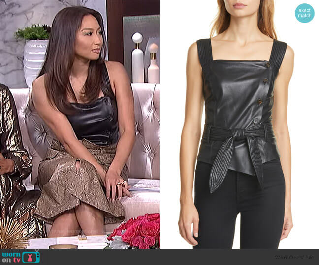 Asya Vegan Leather Top by Nanushka worn by Jeannie Mai  on The Real
