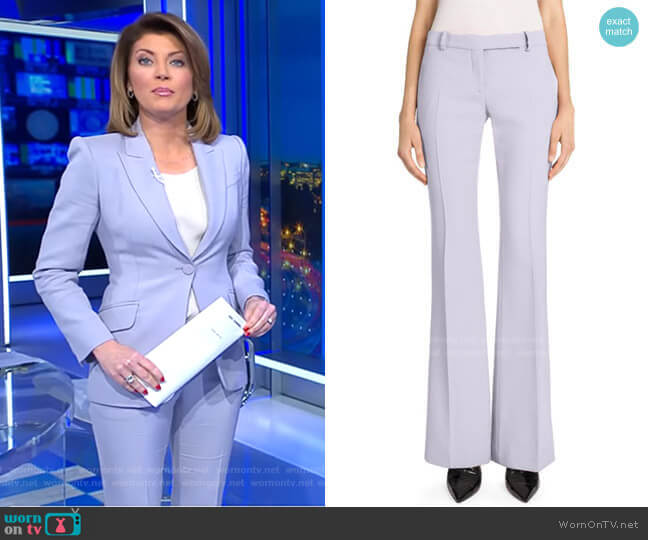 Narrow Bootcut Pants by Alexander McQueen worn by Norah O'Donnell  on CBS Evening News