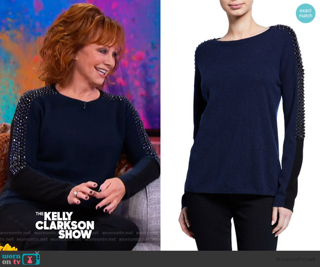 Embellished Colorblock Cashmere Sweater by Neiman Marcus Cashmere Collection worn by Reba McEntire on The Kelly Clarkson Show