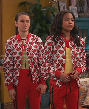 Nia and Tess's heart print bomber jacket on Ravens Home