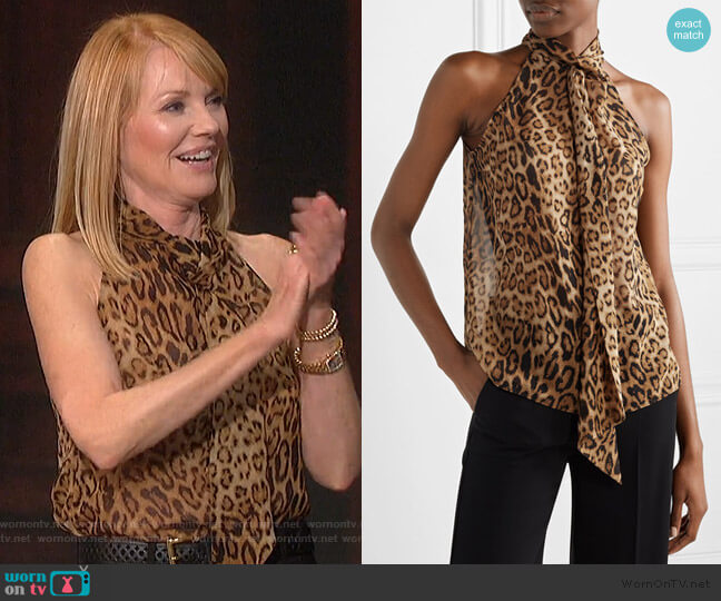 Alameda leopard Top by Lotan worn by Marg Helgenberger on The Talk