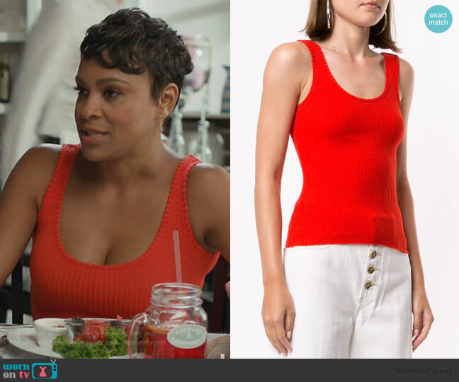 Luxe Ribbed Tank Top by Nobody Denim worn by Angela (Carly Hughes ) on American Housewife