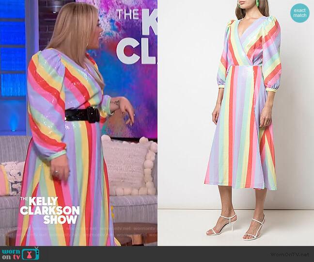 Pastel Stripe Dress by Olivia Rubin worn by Kelly Clarkson  on The Kelly Clarkson Show
