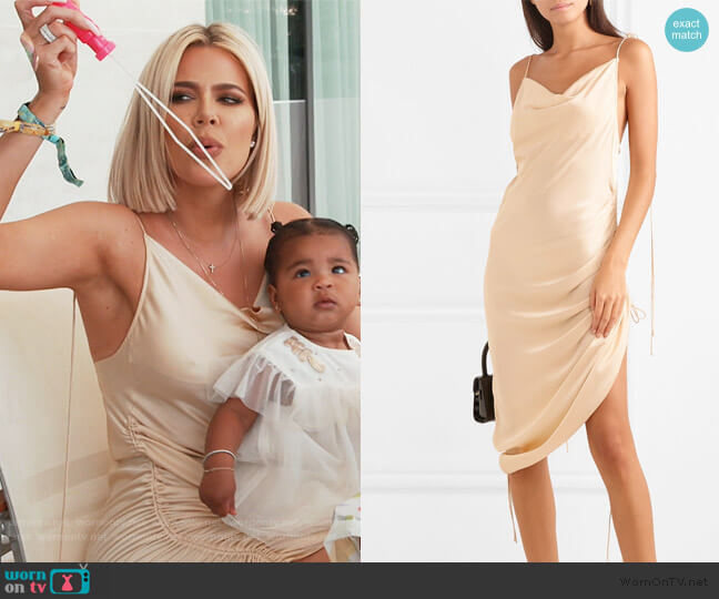 Ruched satin dress by Orseund Iris worn by Khloe Kardashian  on Keeping Up with the Kardashians