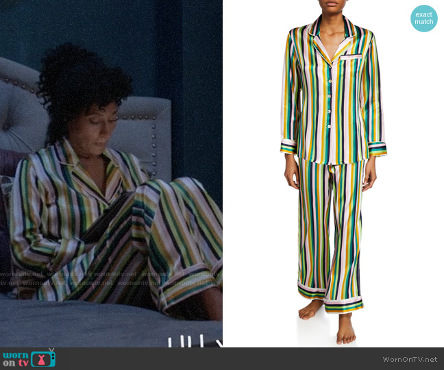 Olivia von Halle Lila 1977 Striped Classic PJ Set worn by Rainbow Johnson (Tracee Ellis Ross) on Blackish