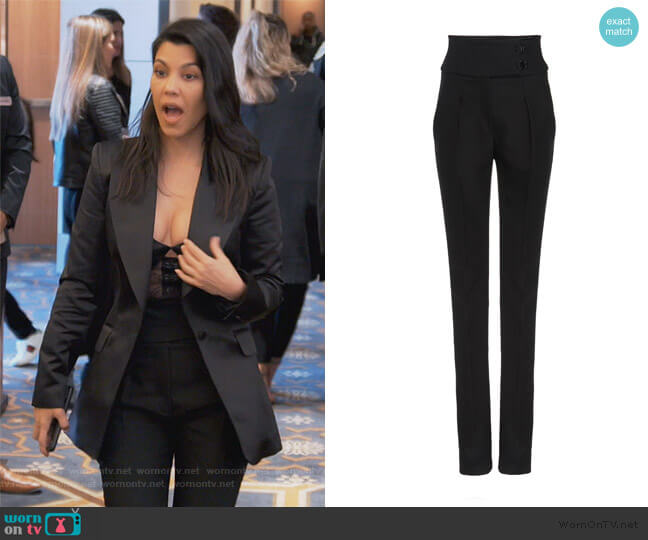 Tate Straight-Leg Wool-Blend Pants by Olivier Theyskens worn by Kourtney Kardashian  on Keeping Up with the Kardashians