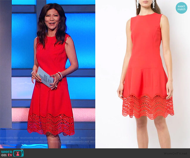 Drop-waist Scalloped-hem Dress by Oscar De La Renta worn by Julie Chen  on Big Brother