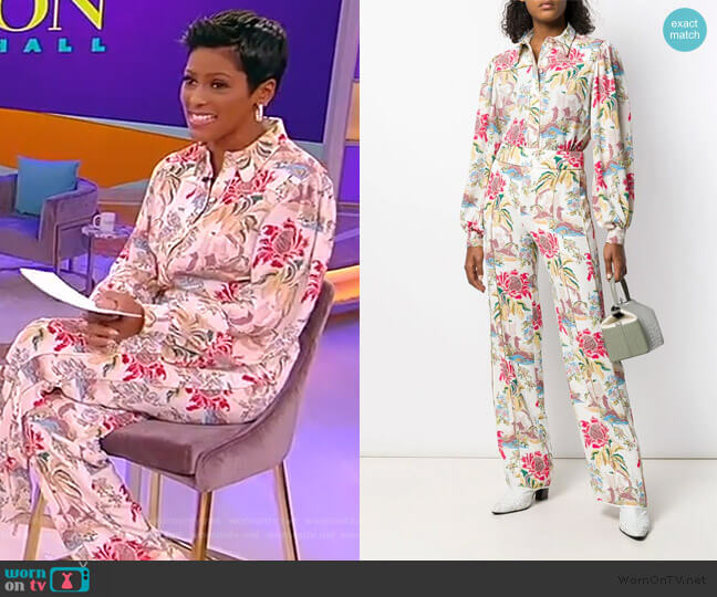 Printed Crepe Blouse and pants by Peter Pilotto worn by Tamron Hall  on Tamron Hall Show