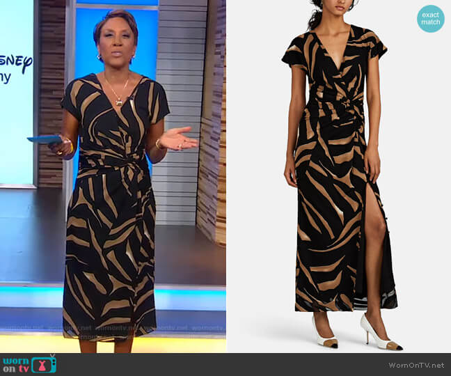 Tiger-Striped Silk Crepe Gown by Prabal Gurung worn by Robin Roberts  on Good Morning America