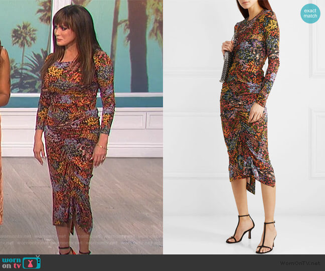 Norah ruched floral top and Aaliyah Ruched Floral Skirt by Preen by Thornton Bregazzi worn by Marie Osmond  on The Talk