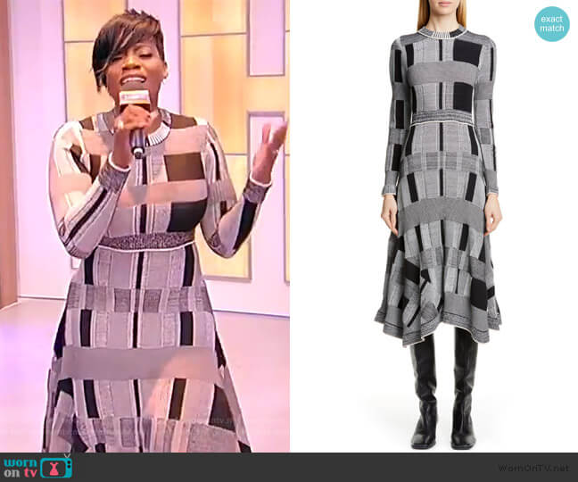 Plaid Long Sleeve A-Line Sweater Dress by Proenza Schouler worn by Fantasia Barrino on the Tamron Hall Show