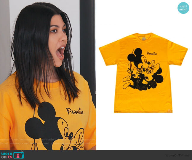 Mickey & Vivienne T-shirt by Paradise NYC worn by Kourtney Kardashian  on Keeping Up with the Kardashians