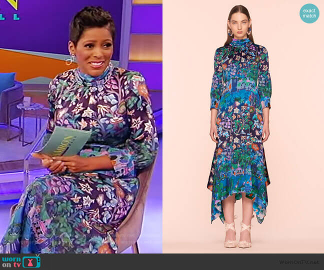 Silk High Neck Midi Dress by Peter Pilotto worn by Tamron Hall  on Tamron Hall Show