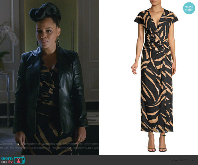 Tiger-Striped Silk Crepe Gown by Prabal Gurung worn by Tegan Price (Amirah Vann) on HTGAWM