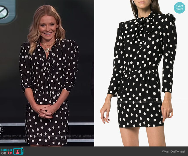 Pussy-Bow Printed Crepe Mini Dress by Saint Laurent worn by Kelly Ripa  on Live with Kelly & Ryan