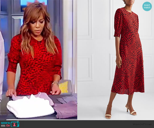 Jess animal-print crepe midi dress by Rixo worn by Sunny Hostin  on The View