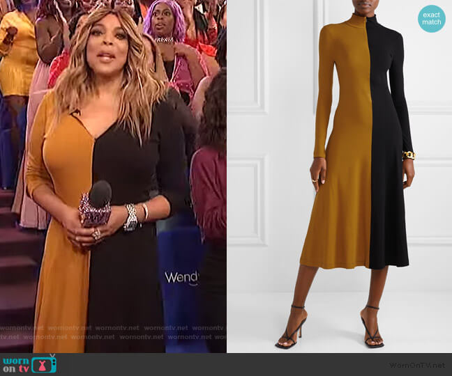 Two-tone cotton-jersey Turtleneck Midi Dress by Rosetta Getty worn by Wendy Williams  on The Wendy Williams Show