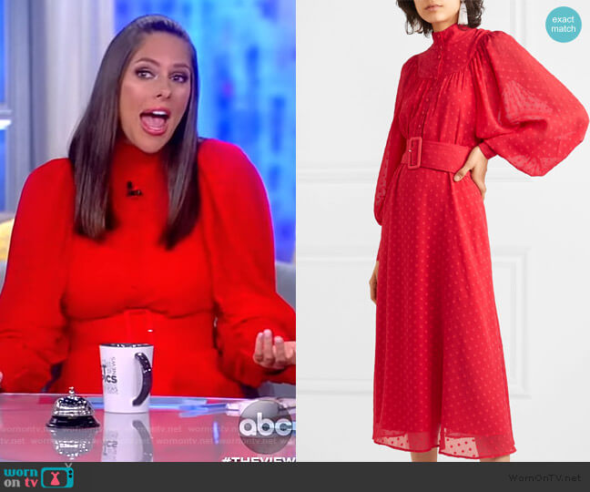 Floral Embroidered Midi Dress by Rotate worn by Abby Huntsman  on The View