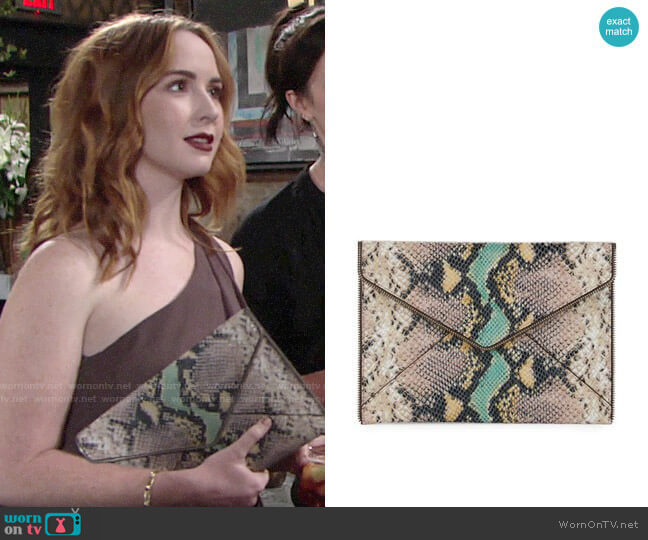 Rebecca Minkoff Snake Leo Clutch worn by Mariah Copeland (Camryn Grimes) on The Young & the Restless