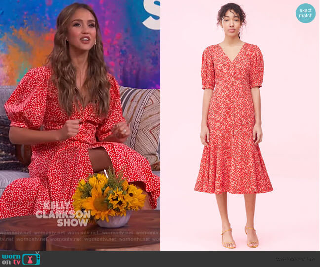 Malia Floral Poplin Dress by Rebecca Taylor worn by Jessica Alba on the Tamron Hall Show