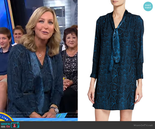 Snake-Print Tie-Neck Long-Sleeve Silk Dress by Rebecca Taylor worn by Lara Spencer  on Good Morning America