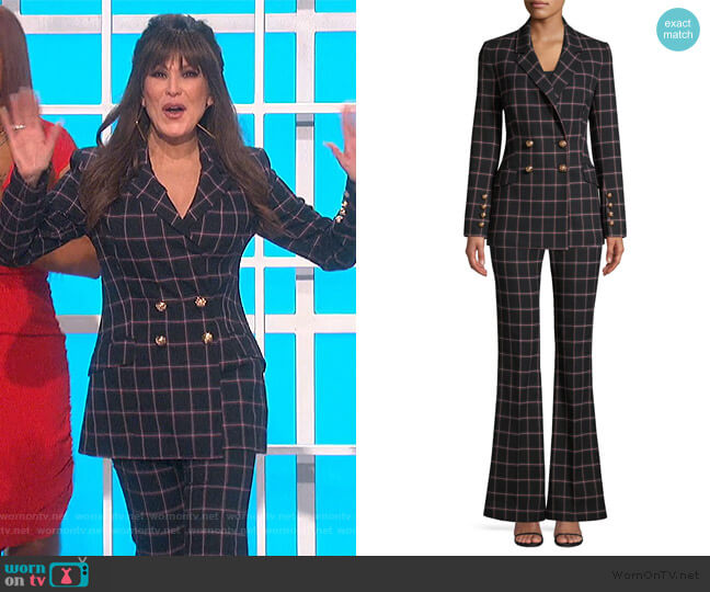 Peta Plaid Double-Breasted Jacket and Pants by Rebecca Vallance worn by Marie Osmond  on The Talk