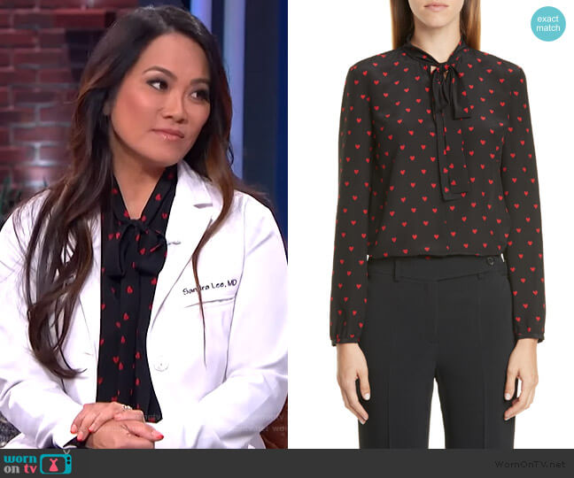 Heart Print Tie Neck Silk Top by Red Valentino worn by Sandra Lee aka Dr Pimple Popper on The Kelly Clarkson Show