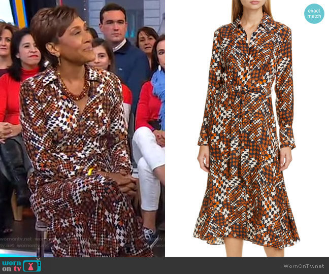 Relle Tie Waist Silk Shirtdress by Equipment worn by Robin Roberts  on Good Morning America