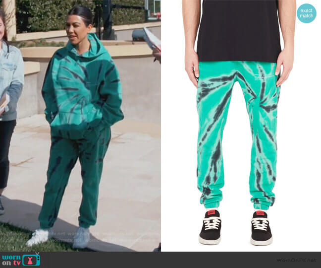 XTC Sweatpants in Watermelon Green by Represent worn by Kourtney Kardashian  on Keeping Up with the Kardashians