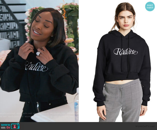 Cropped Radarte Hoodie by Rodarte worn by Malika on Keeping Up with the Kardashians