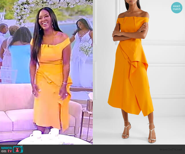 Arch Off-The-Shoulder Midi Dress by Roland Mouret worn by Kenya Moore on the Tamron Hall Show