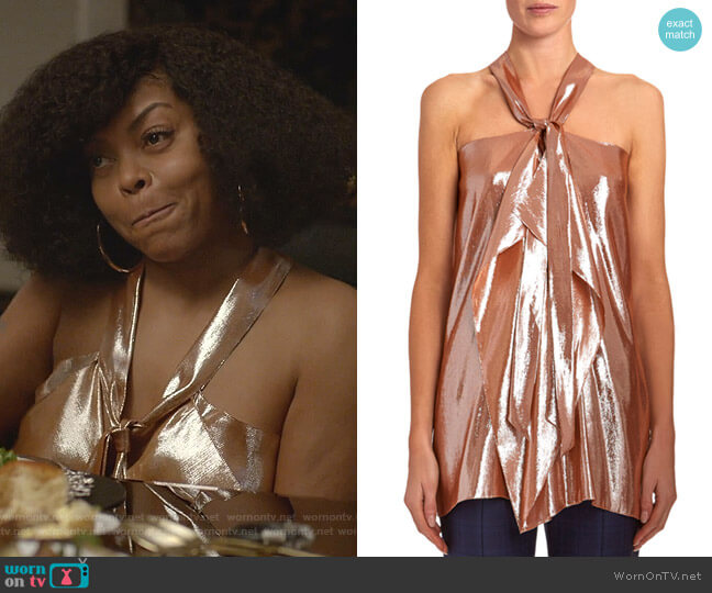 Pontal Draped Metallic-Silk Jacquard Halter Top by Roland Mouret worn by Cookie Lyon (Taraji P. Henson) on Empire