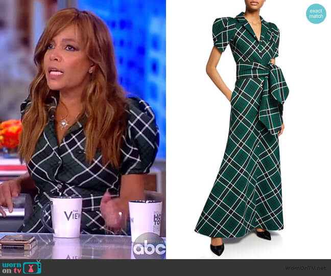 Plaid Puff-Sleeve Shirtdress by Rosie Assoulin worn by Sunny Hostin  on The View