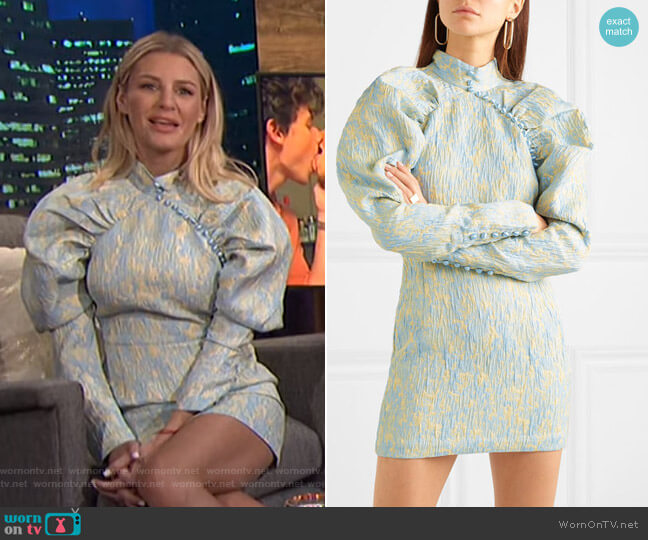 Button-Detailed Crinkled-Jacquard Mini Dress by Rotate Birger Christensen worn by Morgan Stewart  on E! News