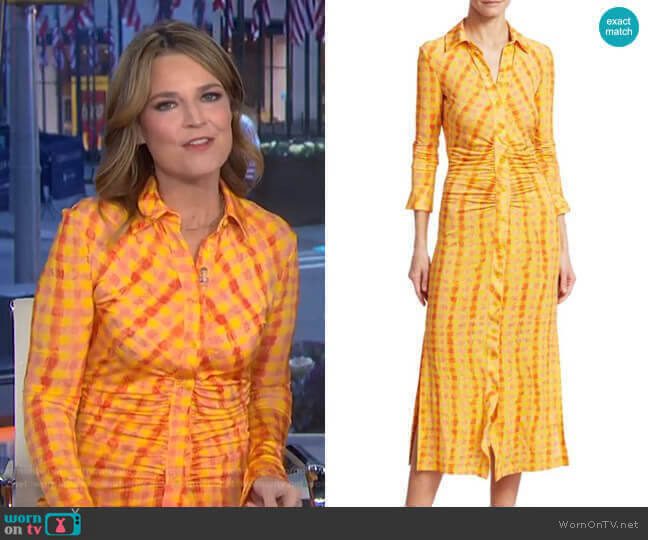 Ruched Gingham Midi Shirtdress by Altuzarra worn by Savannah Guthrie  on Today
