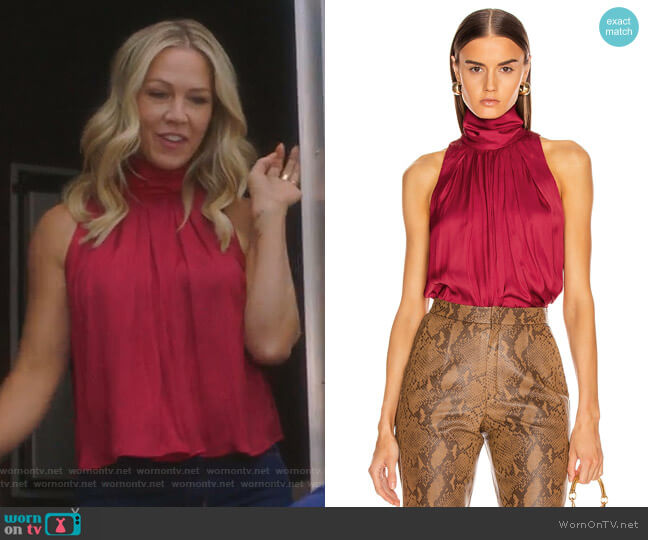 Sleeveless Turtleneck Blouse by Smythe worn by Jennie Garth  on BH90210