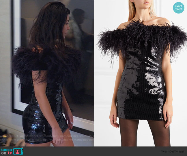 Strapless feather-trimmed sequined crepe mini dress by Saint Laurent worn by Kourtney Kardashian  on Keeping Up with the Kardashians