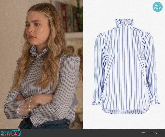 Sandro Ruffled striped cotton blouse worn by Ainsley Howard (Rebecca Rittenhouse) on Four Weddings & a Funeral