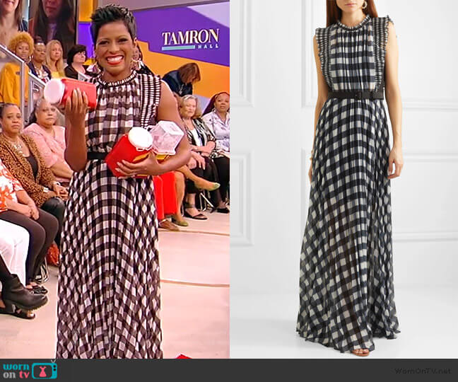 Belted Ruffled Gingham Maxi Dress by Self Portrait worn by Tamron Hall  on Tamron Hall Show