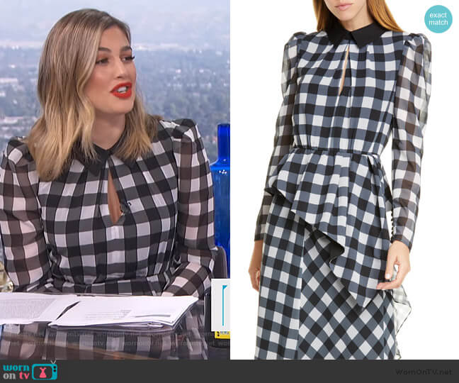 Gingham Asymmetrical Peplum Blouse by Self Portrait worn by Carissa Loethen Culiner  on E! News